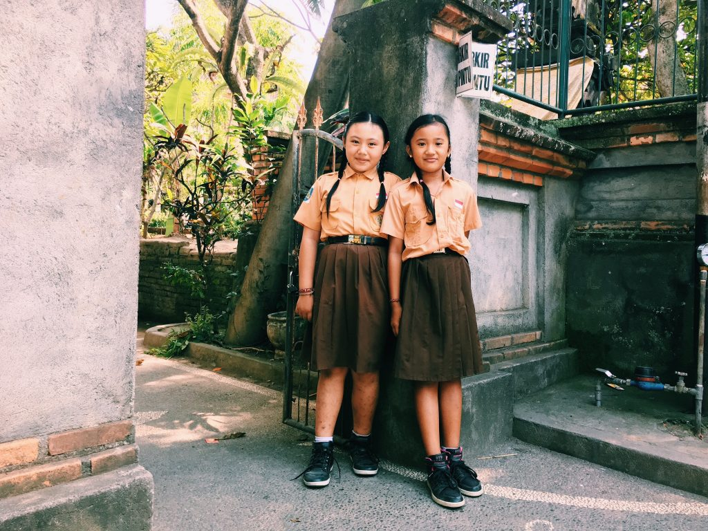 Outside a school, Ubud